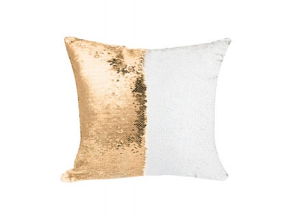 Flip Sequin Pillow Cover (Gold w/ White, 40*40cm)