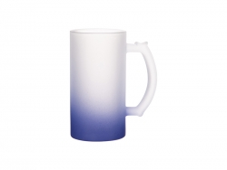 16oz Sublimation Glass Beer Mug Gradient Dark Blue