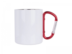300ml Stainless Steel Mug w/ Red Carabiner Handle (White)