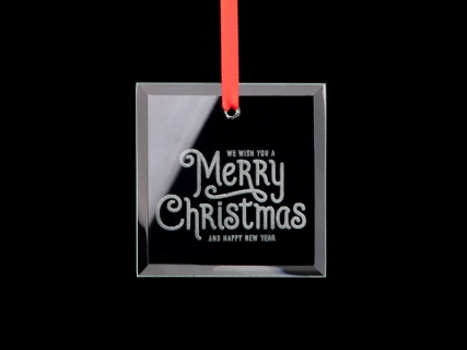 "3"" Engraved Glass Ornament (Square)"