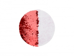 φ19cm Flip Sequins Adhesive White Base (Round, Red w/ White)