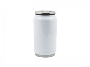 10oz/300ml Stainless Steel Coke Can with Straw (White)