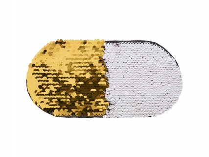 Flip Sequins Adhesive (Oval, Gold W/ White)