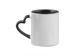 Sublimation 11oz Inner Rim Color Mug with Heart Handle (Black)