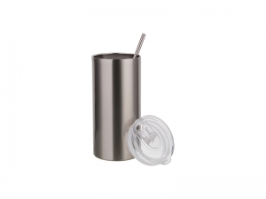 16oz/480ml Stainless Steel Tumbler with Straw & Lid (Silver)