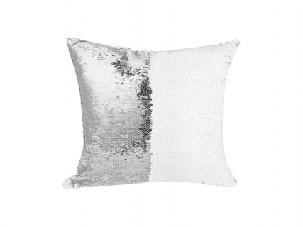 Flip Sequin Pillow Cover (White w/ Silver, 40*40cm)
