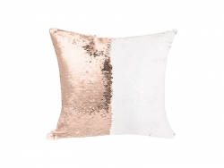 Flip Sequin Pillow Cover(Champagne w/ White, 40*40cm)