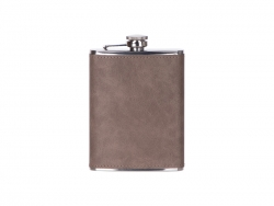 8oz/240ml Stainless Steel Flask with PU Cover (Dark Gray)
