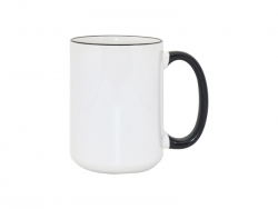 15oz Rim/Handle Mugs - Black