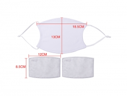 13*18.5cm Sublimation Face Mask with Filter(Full White)