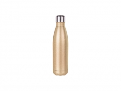 17oz/500ml Glitter Stainless Steel Cola Shaped Bottle (Rose Gold)