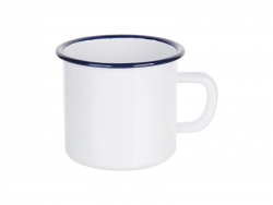 17oz/500ml Enamel Mug with Blue Rim