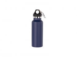 500ml/17oz Portable Bamboo Lid Powder Coated Stainless Steel Bottle (Dark Blue)