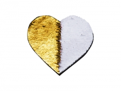 Flip Sequins Adhesive (Heart, Gold W/ White)