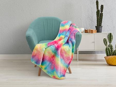 "Tie Dyed PV Fleece Lined Sublimation Minky Blanket(White, 76*101cm/30""x 40"")"