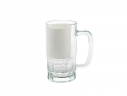 20oz Glass Beer Mug with White Patch