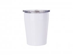 8oz/240ml Stainless Steel Milk Mug w/ Plastic Lid (White)