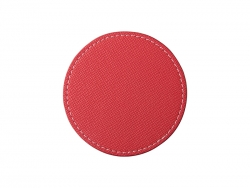 PU Leather Round Mug Coaster (Φ9.5cm,Red)
