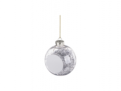 8cm Plastic Christmas Ball Ornament w/ Silver String (Clear)
