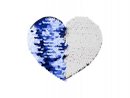 Flip Sequins Adhesive Black Base (Heart, Dark Blue W/ White)