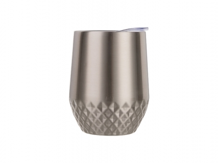 12oz Stainless Steel Stemless Wine Cup (Silver, Diamond Pattern)