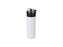 Sublimation 750ml Alu water bottle with Clear cap (White) MOQ: 2000