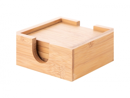4pcs Square Bamboo Coaster Set (9.7cm)