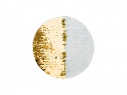 Flip Sequins Adhesive White Base (Round, Gold w/ White)