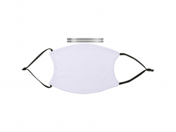 Sublimation Adult Face Mask w/ Alu Nose Bridge (Full White with Black Strap)
