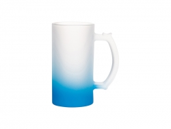 16oz Sublimation Glass Beer Mug Gradient Light Blue