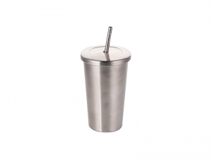 18oz/550ml Stainless Steel Tumbler with Straw & Lid (Silver)   MOQ:3000