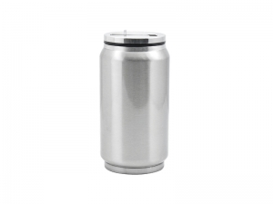 10oz/300ml Stainless Steel Coke Can with Straw(Silver)