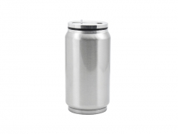 12oz Stainless Steel Coke Can with Straw(Silver)