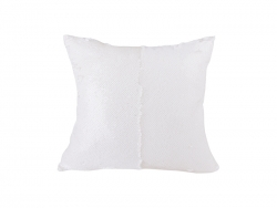 Flip Sequin Pillow Cover (White w/ White)