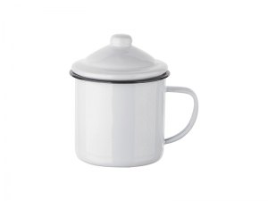 12oz Enamel Mug with Lid (MOQ: 3000)