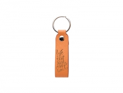 Laser Engraving PU Leather Keychain (Handle,Orange)