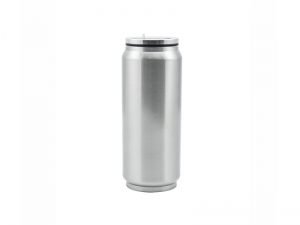12oz/350ml Stainless Steel Coke Can with Straw(Silver)