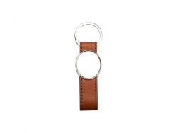 Strip PU Key Chain(Oval, Brown)
