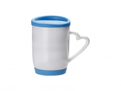 12oz/360ml Ceramic Mug w/ Silicon Lid and Base(Light Blue)