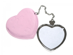 Heart Hand Mirror with Leather Case
