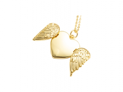 Heart Angel Wings Necklace (Gold)