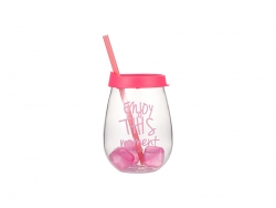 10oz/300ml Clear Plastic Stemless Cup (Pink, w/ Reusable Ice Cubes)