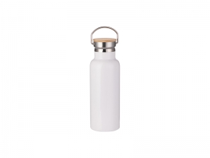 500ml/17oz Portable Bamboo Lid Stainless Steel Bottle (White)